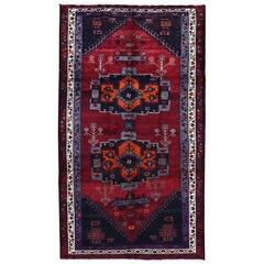 Gallery Size Red Vintage Persian Hamadan Pure Wool Large Elements Hand Knotted