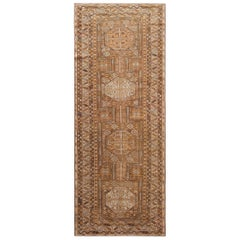 Gallery Size Tribal Antique Caucasian Shirvan Rug. Size: 4 ft 3 in x 10 ft 9 in