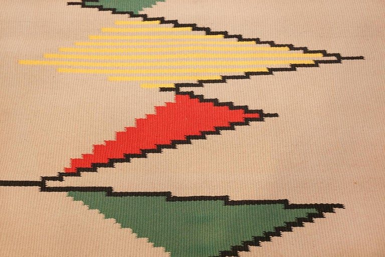 Hand-Woven Gallery Size Vintage Czech Kilim Rug by Antonin Kybal. Size: 4' 3