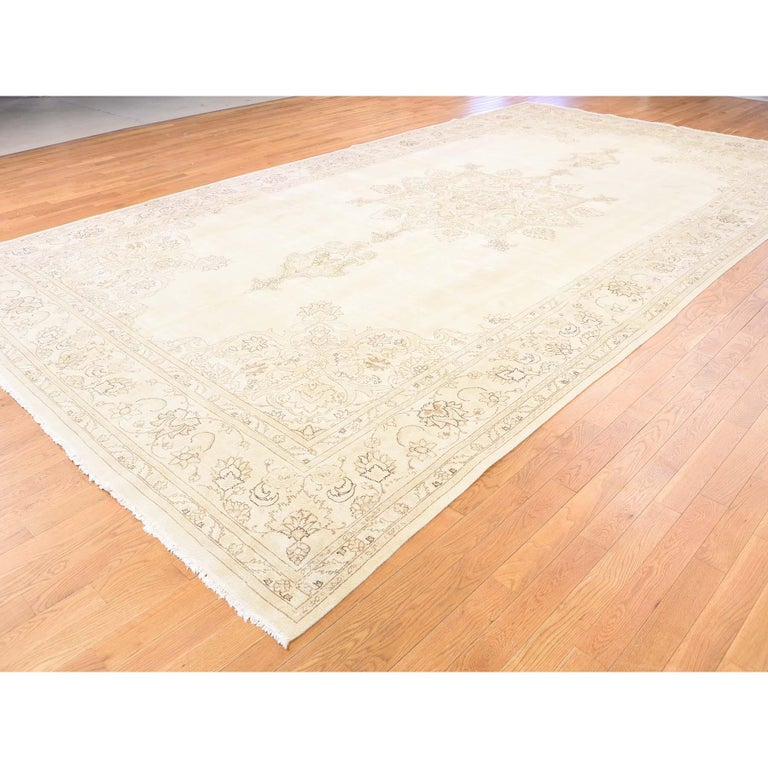 Gallery Size Vintage Tabriz Full Pile Hand Knotted Pure Wool Rug For Sale 1