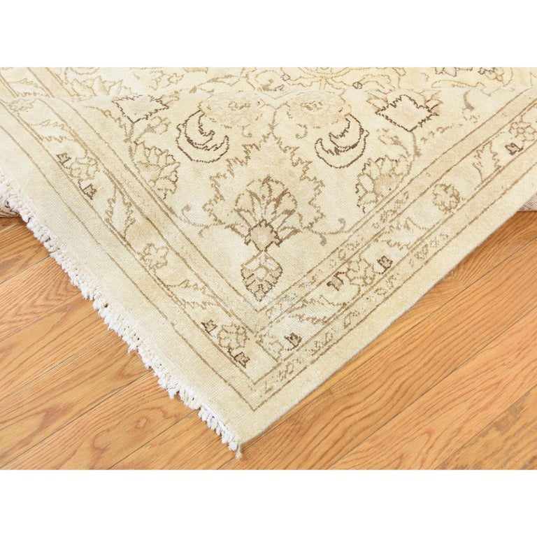 Gallery Size Vintage Tabriz Full Pile Hand Knotted Pure Wool Rug For Sale 4