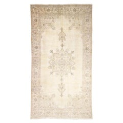 Gallery Size Vintage Tabriz Full Pile Hand Knotted Pure Wool Rug