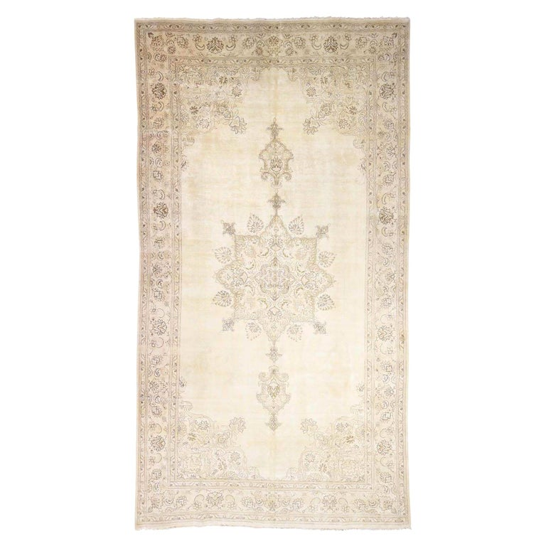 Gallery Size Vintage Tabriz Full Pile Hand Knotted Pure Wool Rug For Sale