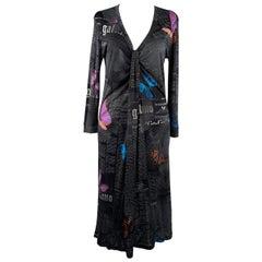 Galliano Black Gazette Newspaper Print Long Sleeve Dress