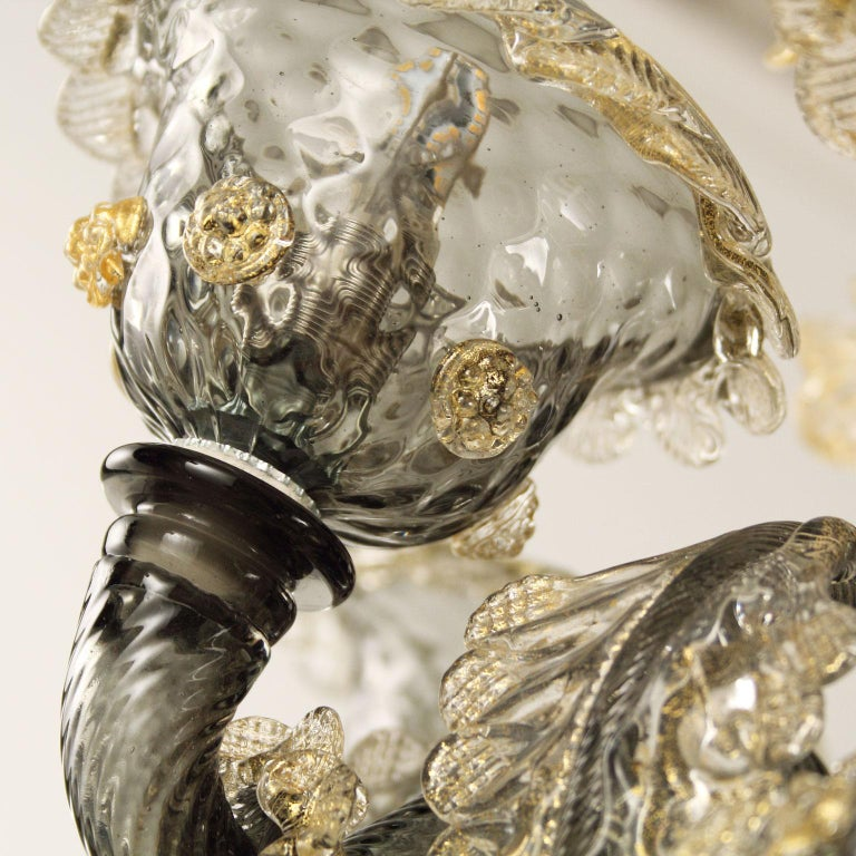 Other Galliano Chandelier, 6 Lights, Dark Grey Murano Glass Gold Details by Multiforme For Sale