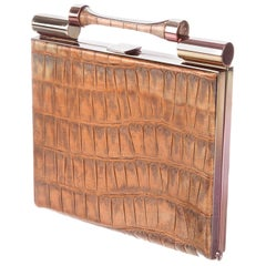 Galliano Croc Embossed Leather Clutch