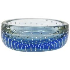 Galliano Ferro Handblown Blue Murano Art Glass Round Bowl with Inner Air Bubbles