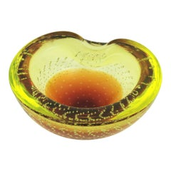 Galliano Ferro Murano Acid Yellow and Amber Bullicante Glass Bowl / Ashtray