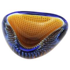 Galliano Ferro Murano Amber & Blue Bullicante Triangle Art Glass Bowl