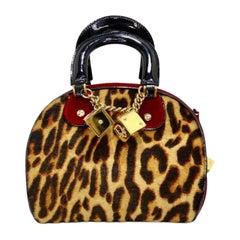 Galliano for Christian Dior Leopard Gambler Dice Bowler Bag