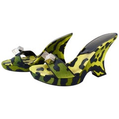 Galliano for Dior 2000s Green Leopard Print Gambler Wedges