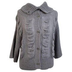 Galliano Gray Wool Blend 3/4 Sleeves Cardigan Size M