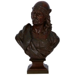 """Gallic Warrior"" Antique French Bronze Sculpture Bust by Albert Froger"