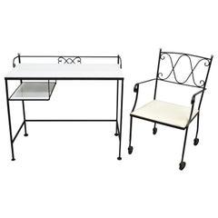 Gallo Original Iron Works Wrought Iron Salterini Style Desk Chair Vitrolite