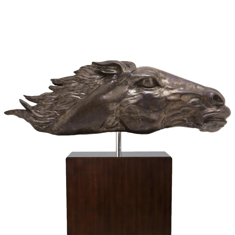 Sculpture Gallop in beaten solid copper, on solid wooden base.