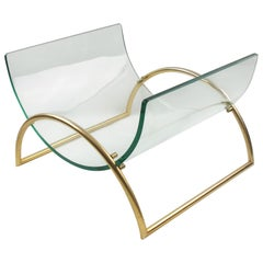Gallotti & Radice Curved Glass Aluminum Magazine Rack Holder