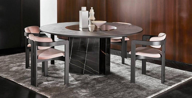 Gallotti And Radice Platium W Round Table In Marble Wood