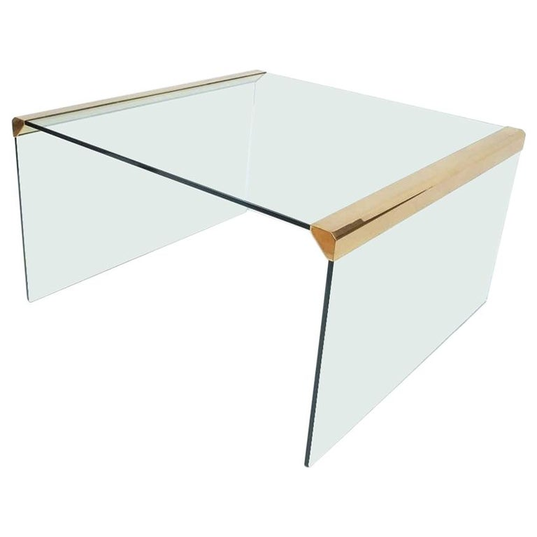 Gallotti & Radice T35 Smoked Glass Brass Coffee Table For Sale