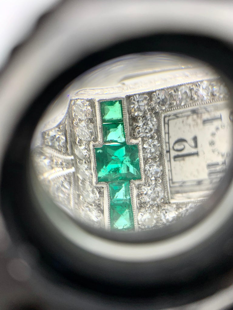 Galt And Bro Platinum Diamond And Emerald Watch With