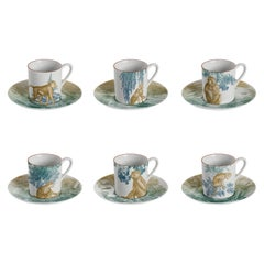 Galtaji, Coffee Set with Six Contemporary Porcelains with Decorative Design