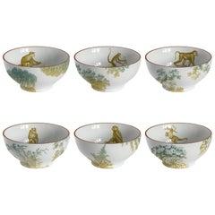 Galtaji, Six Contemporary Porcelain Bowls with Decorative Design