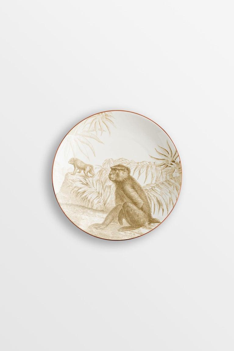 Italian Galtaji, Six Contemporary Porcelain Dessert Plates with Decorative Design For Sale