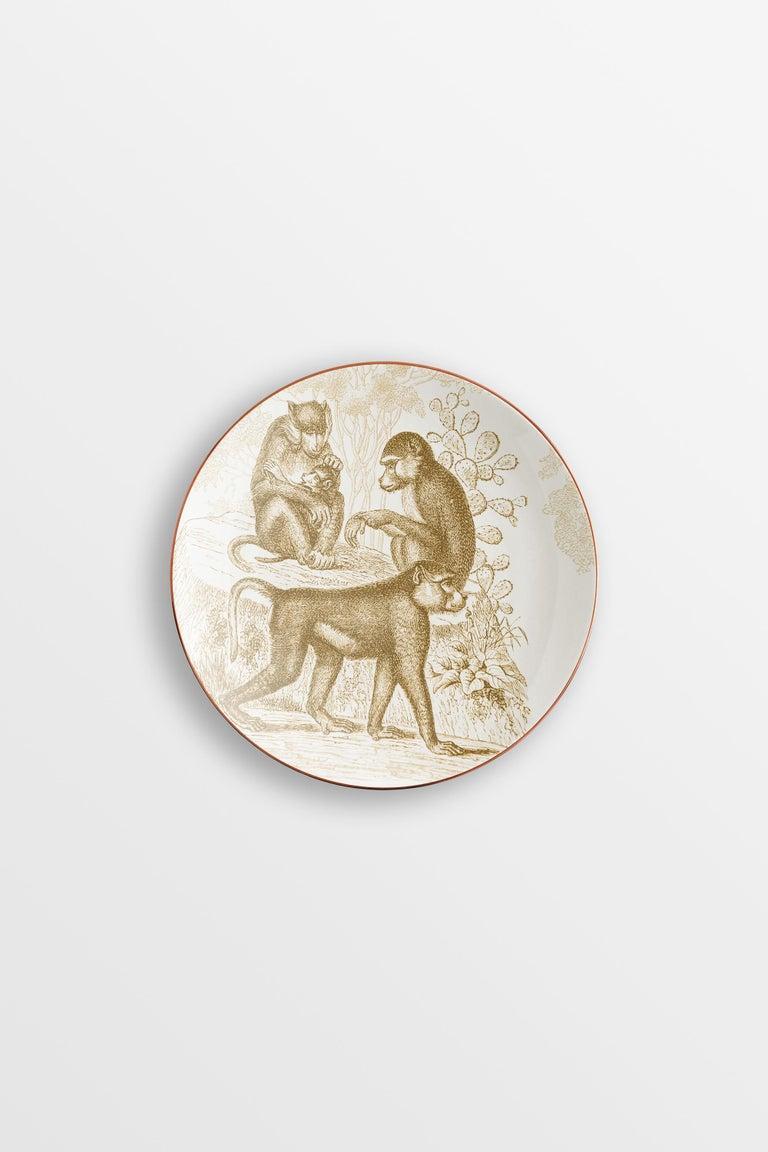 Galtaji, Six Contemporary Porcelain Dessert Plates with Decorative Design For Sale 1