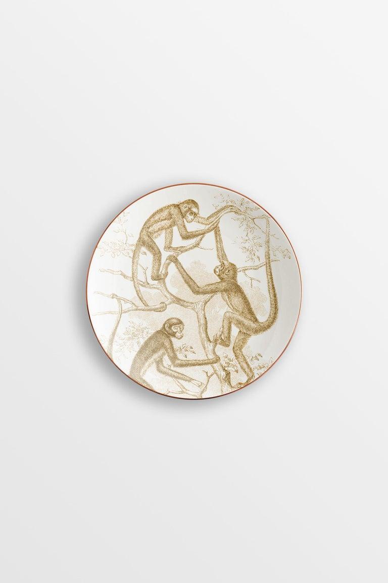 Galtaji, Six Contemporary Porcelain Dessert Plates with Decorative Design For Sale 2