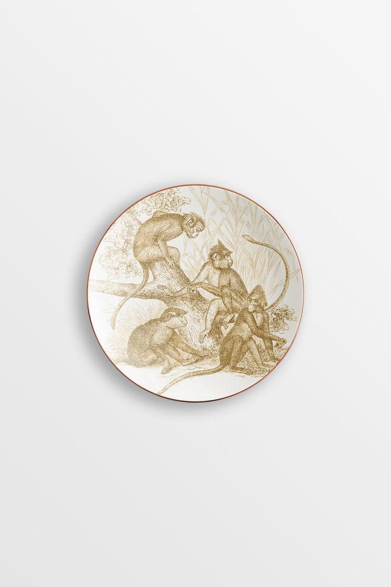 Galtaji, Six Contemporary Porcelain Dessert Plates with Decorative Design For Sale 3