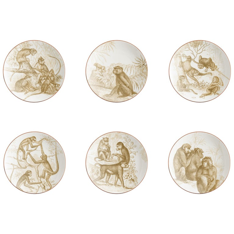 Galtaji, Six Contemporary Porcelain Dessert Plates with Decorative Design For Sale