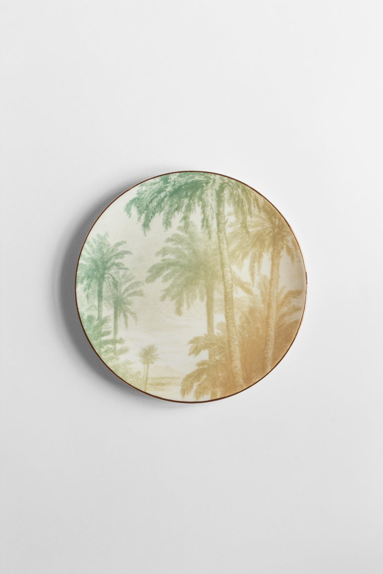 Galtaji, Six Contemporary Porcelain Dinner Plates with Decorative Design In New Condition For Sale In Milan, IT