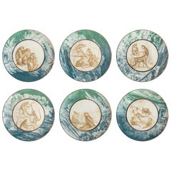 Galtaji, Six Contemporary Porcelain Dinner Plates with Decorative Design