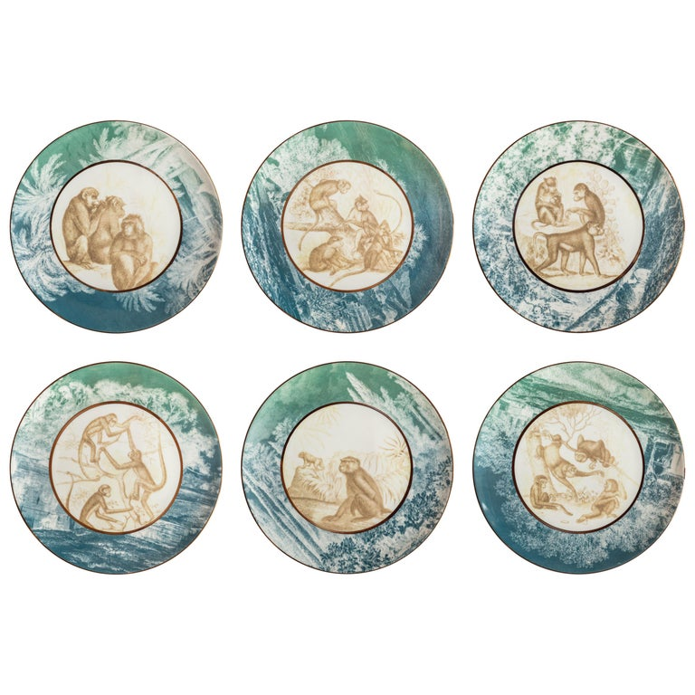 Galtaji, Six Contemporary Porcelain Dinner Plates with Decorative Design For Sale