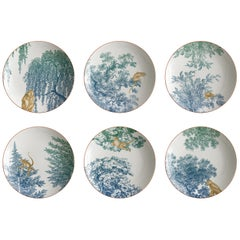 Galtaji, Six Contemporary Porcelain Soup Plates with Decorative Design