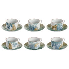 Galtaji, Tea Set with Six Contemporary Porcelains with Decorative Design