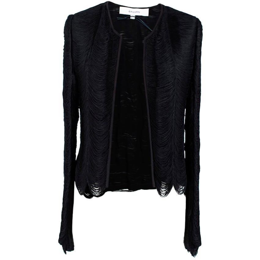 Galvan Black Fringe Silk-Georgette Jacket - Size Medium