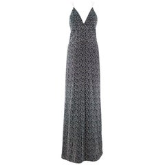 Galvan Black & White Textured Low Back Gown - Size US 6