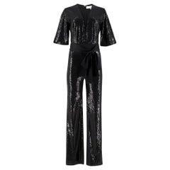Galvan London Black Sequined Waist-Tie Jumpsuit Size 8
