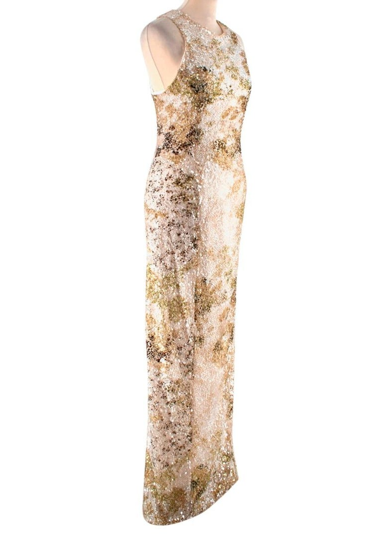 Galvan London Paillette White & Chartreuse Sequin Column Gown  - Paillette column dress - Sequin embellishment all over  - Maxi length  - Lined  - Back zip fastening   Materials: Main fabric: - 65% Nylon - 35% Polyester  Lining: - 95% Silk  - 5%