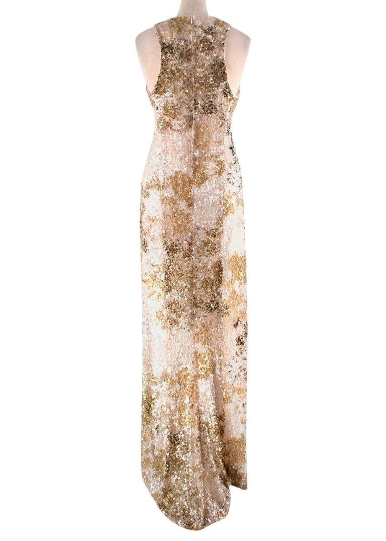 Galvan London Paillette White & Chartreuse Sequin Column Gown - Size US 6 In New Condition For Sale In London, GB