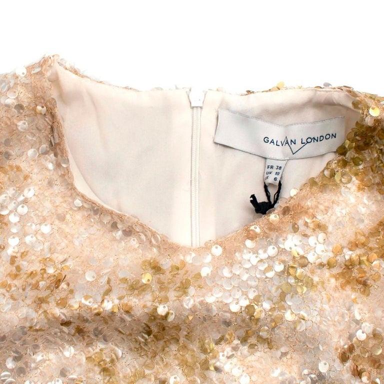 Galvan London Paillette White & Chartreuse Sequin Column Gown - Size US 6 For Sale 5