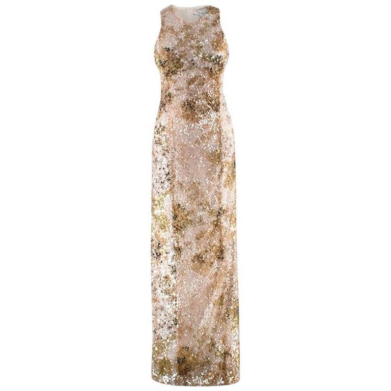 Galvan London Paillette White & Chartreuse Sequin Column Gown - Size US 6 For Sale