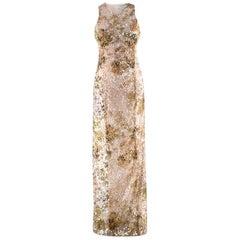 Galvan London Paillette White & Chartreuse Sequin Column Gown - Size US 6