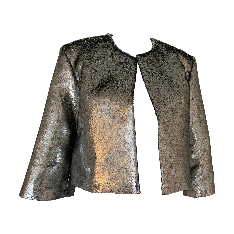 Galvan Metallic Silver Cropped Jacket