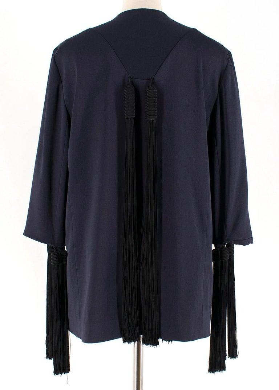 Black Galvan navy fringed jacket - Size M For Sale