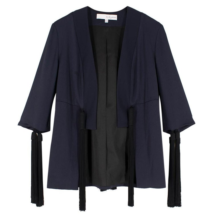 Galvan navy fringed jacket - Size M In Excellent Condition For Sale In London, GB