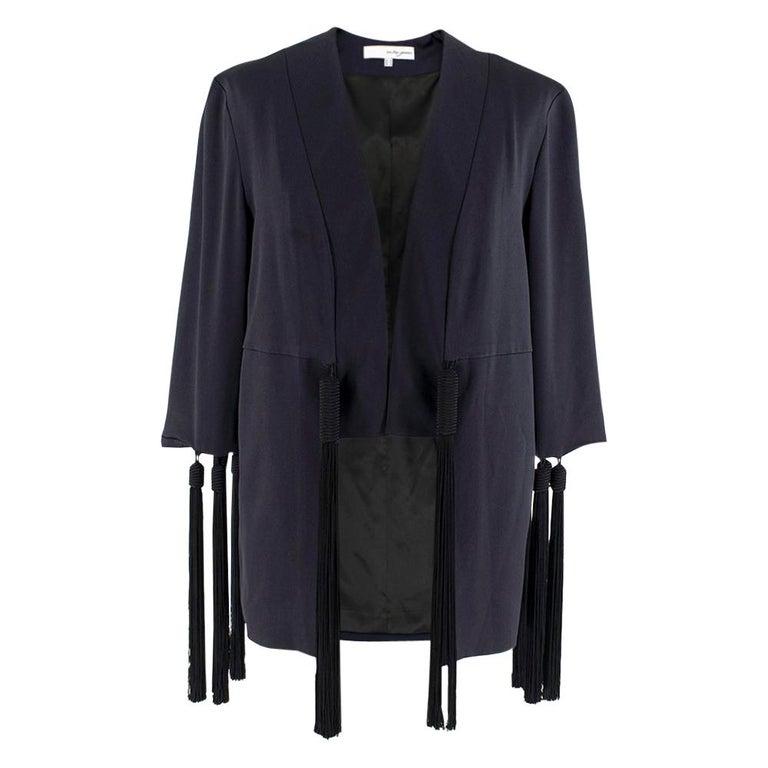 Galvan navy fringed jacket - Size M For Sale