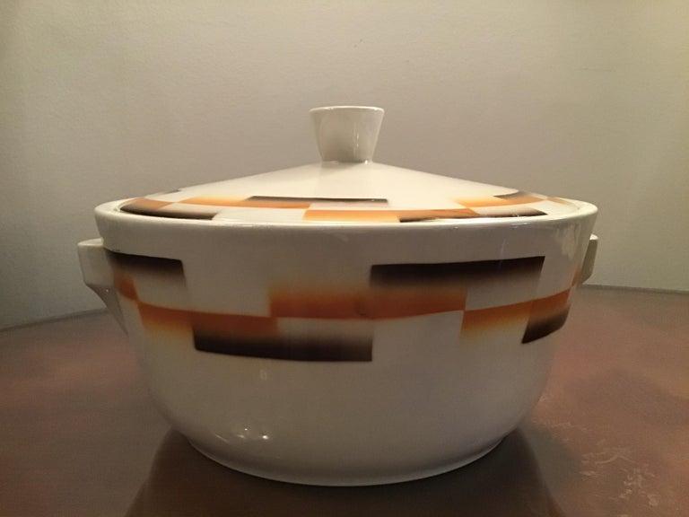 Other Galvani Pordenone Centerpiece Soup Tureen Ceramic, 1930, Italy For Sale
