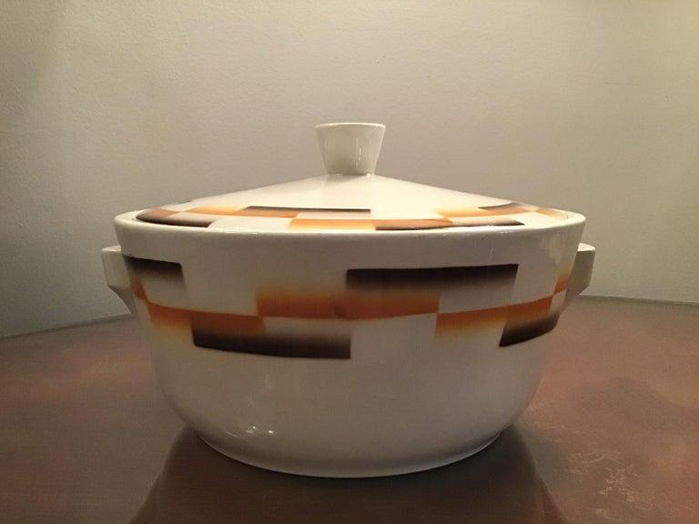 Italian Galvani Pordenone Centerpiece Soup Tureen Ceramic, 1930, Italy For Sale