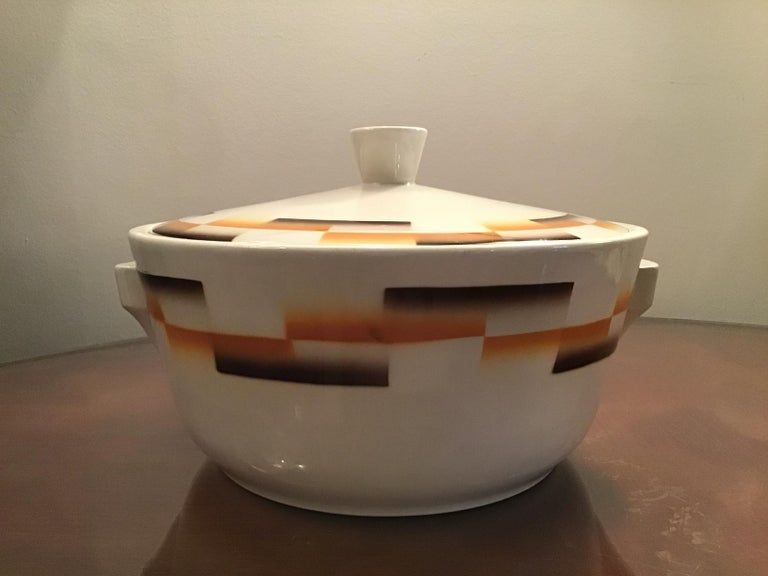Galvani Pordenone Centerpiece Soup Tureen Ceramic, 1930, Italy In Excellent Condition For Sale In Milano, IT